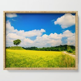 lonely tree in the fields of Italy Serving Tray