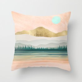 Spring Forest Lake Throw Pillow