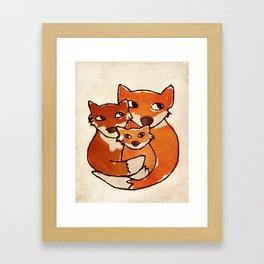 Fox Family Quirky San Jones Illustration Framed Art Print