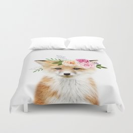 Baby Fox with Flower Crown Duvet Cover