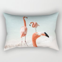Elegant Pink Flamingo Photo Art Print | Beach Aruba Island Caribbean | Tropical Travel Photography Rectangular Pillow