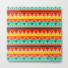 Multicolored tribal stripes Metal Print