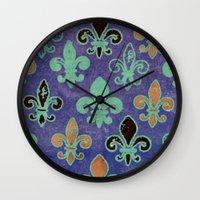 fleur de lis Wall Clocks featuring Fleur de lis #6 by Camille