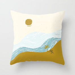 Self Isolation Beach Sunset Throw Pillow