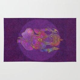 Ganesha hindu god watercolor gold purple art Rug