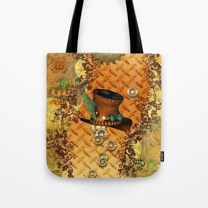 Steampunk, hat with clocks and gears Tote Bag