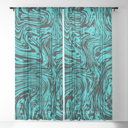 Marble pattern sea wave Sheer Curtain