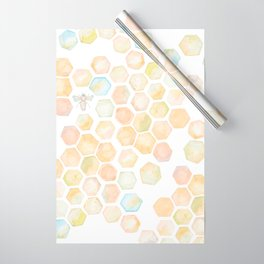 Bee and honeycomb watercolor Wrapping Paper