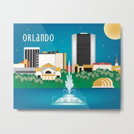 Orlando, Florida - Skyline Illustration by Loose Petals Metal Print