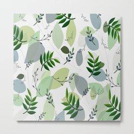 Modern Abstract Green Gray White Foliage Pattern Metal Print