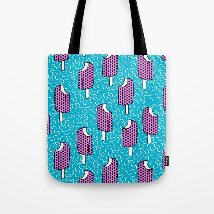 Bite Me - popsicle throwback 80s style memphis dots pattern trendy hipster summer ice cream Tote Bag