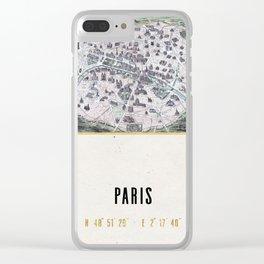 Vintage Paris Gold Foil Location Coordinates with historical map Clear iPhone Case
