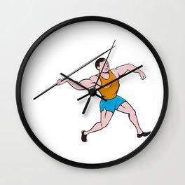 Javelin Throw Track and Field Cartoon Wall Clock