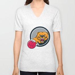 Grizzly Bear Angry Head Basketball Cartoon Unisex V-Neck