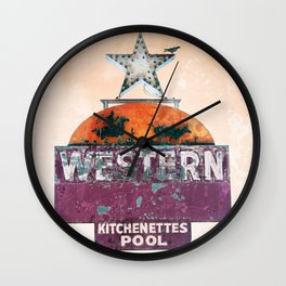 Vintage Neon Sign - The Western - Tucson Wall Clock