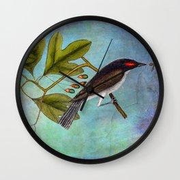Eastern Kingbird and Sassafrass, Antique Natural History Art Collage Wall Clock