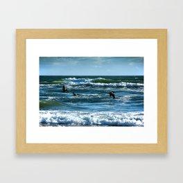 Pelicans Surf Top Flying Framed Art Print