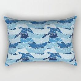 Paper Boat Pattern Ocean Rectangular Pillow