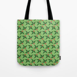 Merry & Bright | Holly Berries on Green Tote Bag