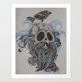 Caveira e pássaros Art Print