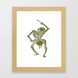A Zombie Undead Skeleton Marching and Beating A Drum Framed Art Print