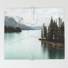Landscape Photography Maligne Lake Throw Blanket
