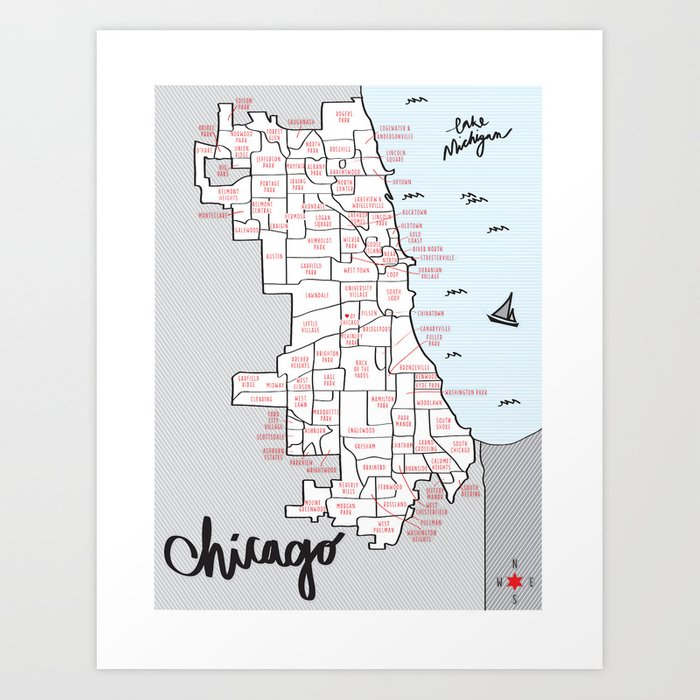 Illustrated Map Of Chicago Neighborhoods Art Print By Morganmccarty