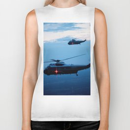Support Helicopters Fly at Dusk Biker Tank
