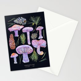Wood Blewits and Pine - Dark Stationery Cards