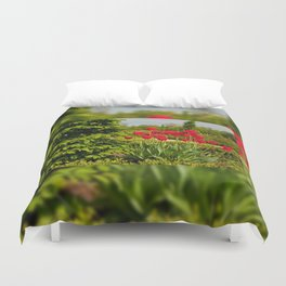 elm and red tulips arranged Duvet Cover