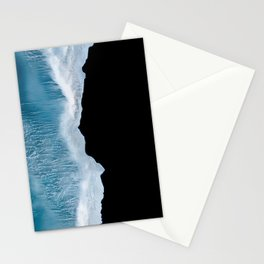 Minimalist wave crashing on a black sand beach in Iceland – Ocean Landscape Photography Stationery Cards