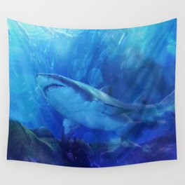 Make Way for the Great White Shark King  Wall Tapestry