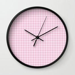 Pink Gingham Check Pattern Wall Clock