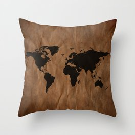 Old Wrinkled World Map Throw Pillow