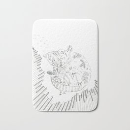 cat and piano Bath Mat