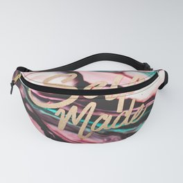 Self Made Typography Quote Pint Teal Marble Paint Fanny Pack
