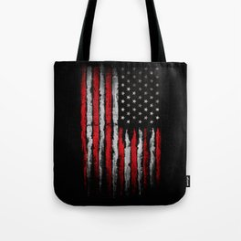 Red & white Grunge American flag Tote Bag