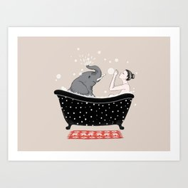 Elephant Bath Time Art Print