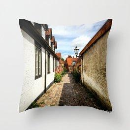 Narrow streets of Ribe Throw Pillow