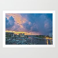Sunset over El Cid Marina Art Print