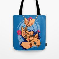 koi fish Tote Bags featuring koi fish by Pinkspoisons