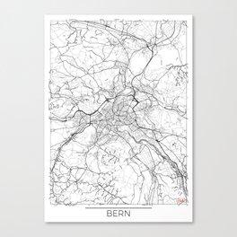 Bern Map White Canvas Print