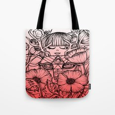 Charmed Life - Deer Girl Poppies - Pink Ombre Tote Bag