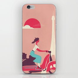 French girl on a Scooter iPhone Skin