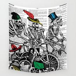 Calavera Cyclists Wall Tapestry