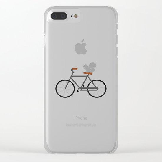 Squirrel Riding Bike Clear iPhone Case