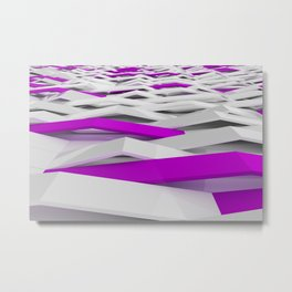 White matte plastic waves with violet elements Metal Print