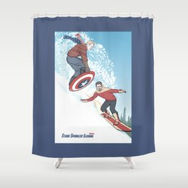 Stark Spangled Sledding (Recipe for a Concussion) Shower Curtain