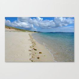 Appletree beach shore watercolour effect, Tresco Isles of Scilly. Canvas Print