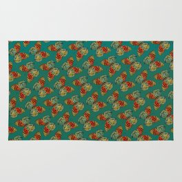 Himalayan Fritillary Butterfly - Emerald Green & Orange Red Rug